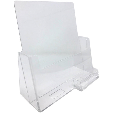 "Clear Acrylic 8.5"" x 11"" Countertop Brochure Holder with Business Card Holder"