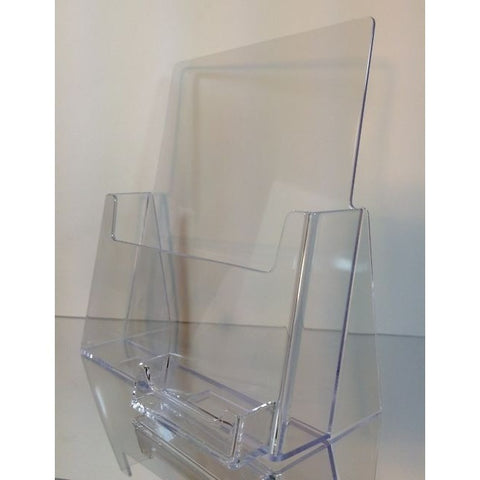 "Clear 8.5"" x 11"" Countertop Brochure Holder with Business Card Holder"
