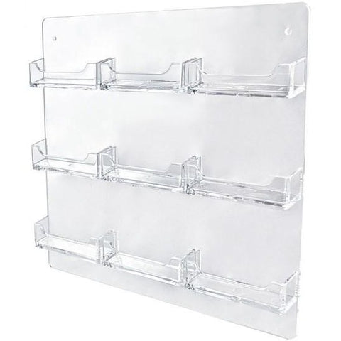 9-Pocket Clear Acrylic Wall-Mount Business Card Holder