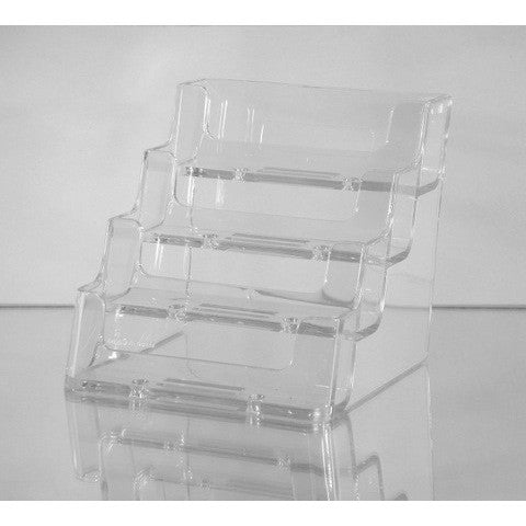 "4-Pocket Clear Acrylic ""deflect-o"" Style Countertop Business Card Holder"