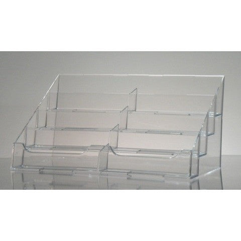 Clear Acrylic 8-Pocket Countertop Business Card Holder