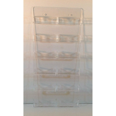 Clear Acrylic 12-Pocket Wall-Mount Business Card Holder