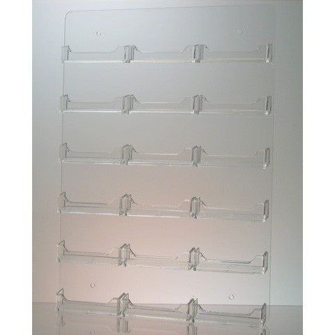 Clear Acrylic 18-Pocket Wall-Mount Business Card Holder