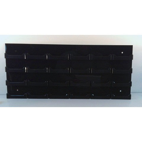 24-Pocket Black Acrylic Wall-Mount Business Card Holder