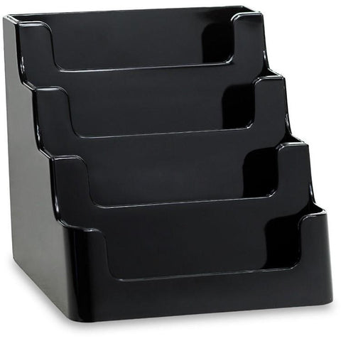 "Black Acrylic 4-Pocket ""deflect-o"" Style Countertop Business Card Holder"
