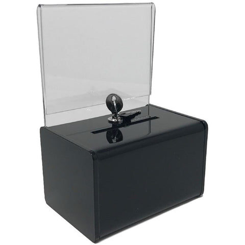 Black Acrylic Mini Donation Box with Cam Lock and (2) Keys