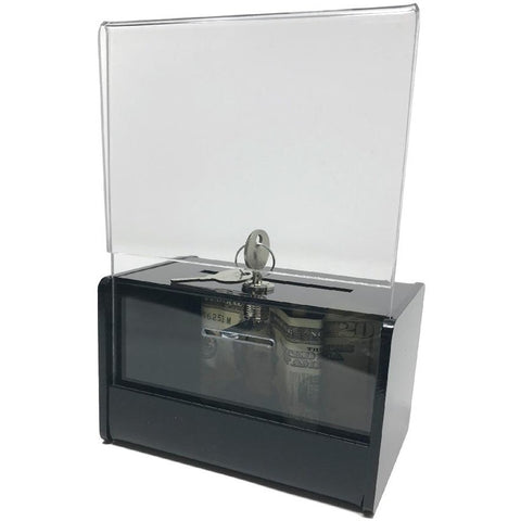 Black Acrylic Mini Donation Box with Attached Business Card Holder, and Cam Lock and (2) Keys
