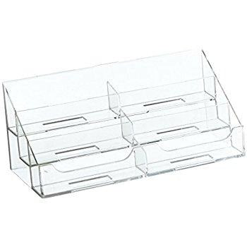 6 pocket clear acrylic countertop business card holder - Pocket Business Card Holder