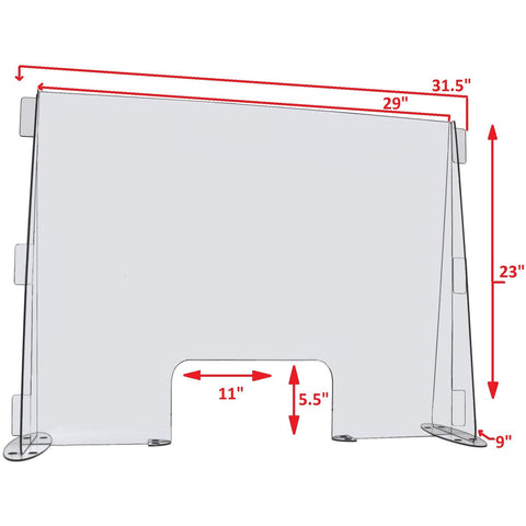 29 Inch Wide x 23 Inch High Clear Acrylic Desk or Counter Sneeze Guard Protection Divider
