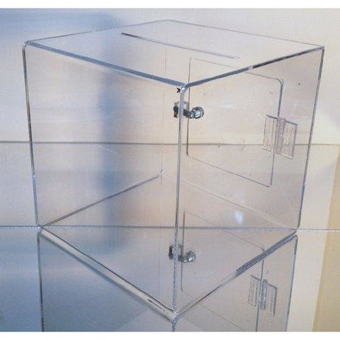"Clear Acrylic 11.25"" Sq. Donation Box with Cam Lock & 2 Keys"
