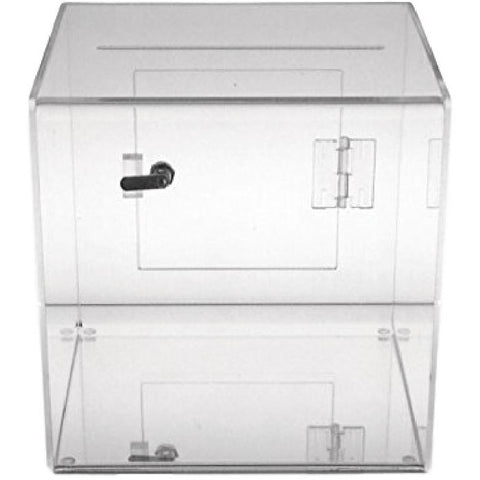 "8"" Square Clear Acrylic Donation Box with Cam Lock & 2 Keys"