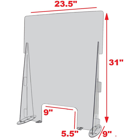 23.5 Inch Wide x 31 Inch High Clear Acrylic Desk or Counter Sneeze Guard Protection Divider