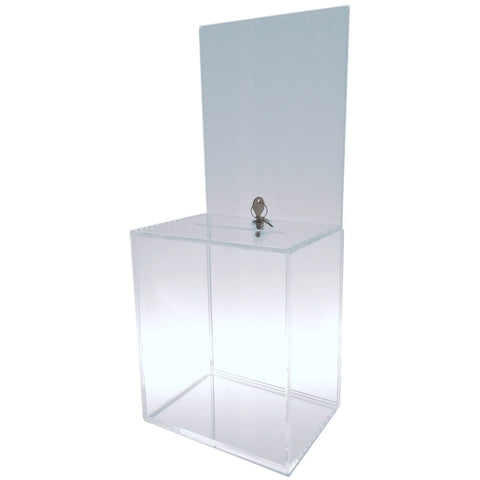 Clear Large-Sized Acrylic Donation Box with Cam Lock and (2) Keys