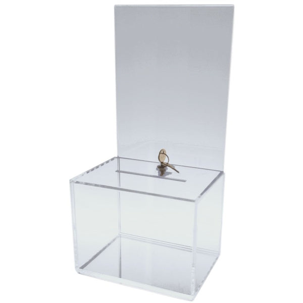 Clear Medium Sized Acrylic Donation Box With Cam Lock And