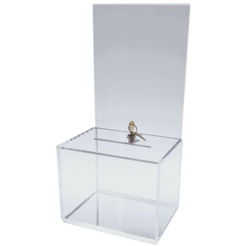 Clear Medium-Sized Acrylic Donation Box with Cam Lock and (2) Keys