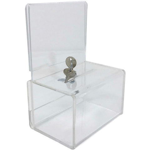 Clear Acrylic Mini Donation Box with Cam Lock and (2) Keys