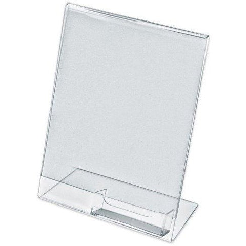 "Slanted 8-1/2"" x 11"" Sign Holder with Business Card Holder"
