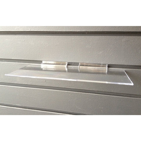 "Clear Injection Molded 4"" x 10"" Slatwall Shelf"