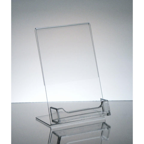 "Slanted 4"" x 6"" Sign Holder with Business Card Holder"