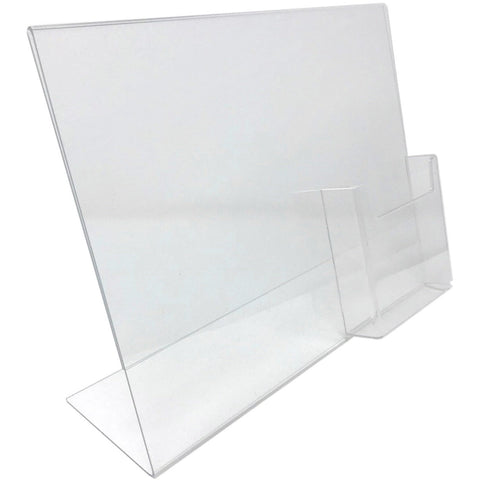 "Acrylic 11"" x 8-1/2"" Slanted Sign Holder with 4x9 Tri-Fold Brochure Holder"