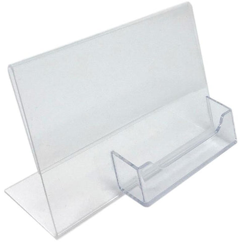 "Acrylic 6"" x 4"" Slanted Sign Holder with Business Card Holder"