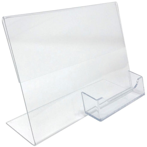 "Slanted 7"" x 5"" Sign Holder with Business Card Holder"