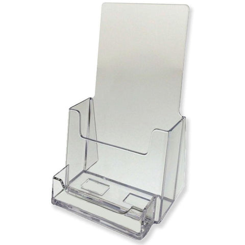 "Clear 4"" x 9"" Tri-Fold Brochure Holder with Business Card Holder"