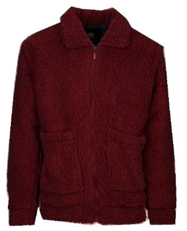 Burgundy Sherpa Zip Jacket