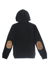 Black Button Up Knit Hoodie - American Stitch