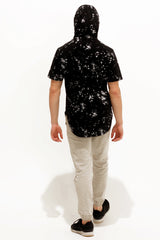 Black Paint Splatter Hoodie Tee - American Stitch