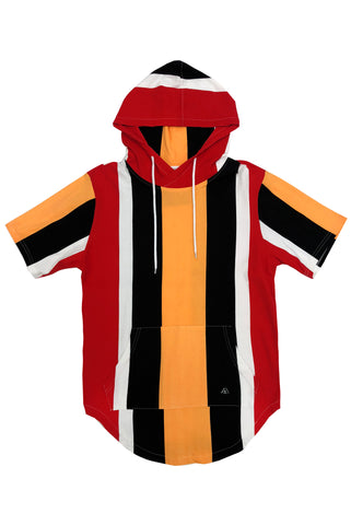 Striped Tee Hoodie - Orange/Combo