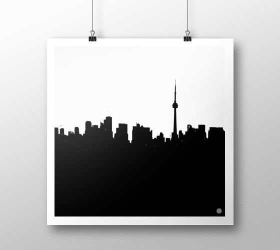 Toronto Skyline Print White on Black