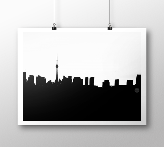 Toronto Skyline landscape White on Black