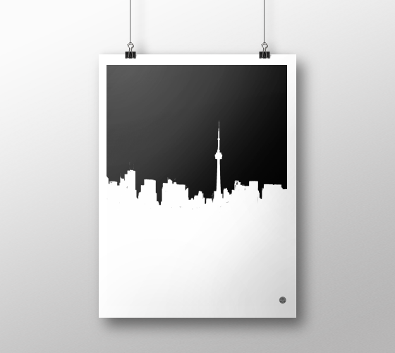 Toronto Skyline horizontal Black on White