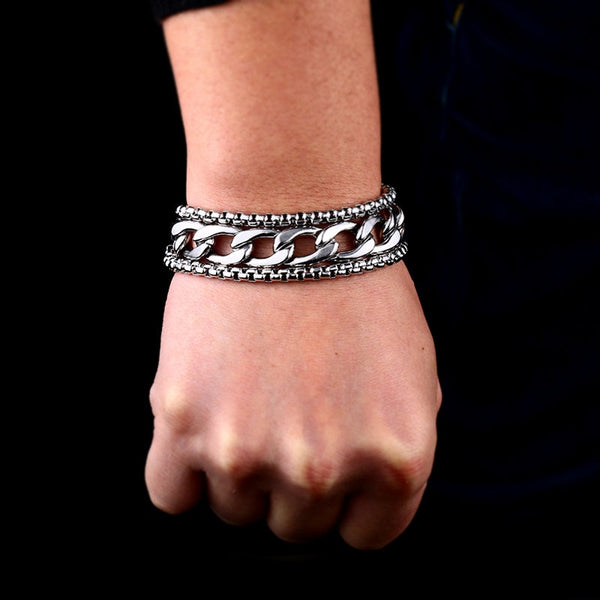 Men's Wide Stainless Steel Punk-Inspired Bracelet