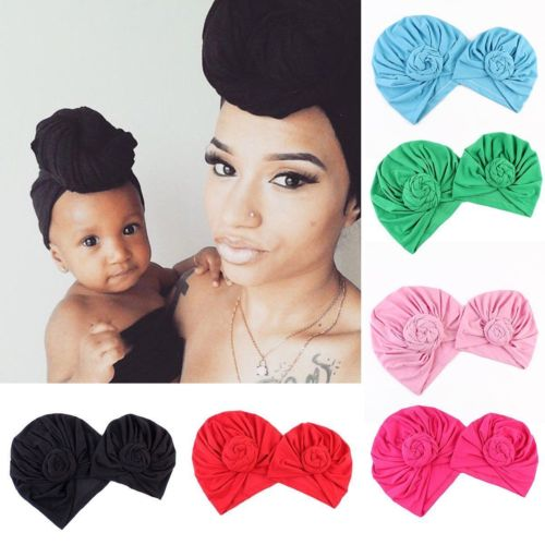 2Pcs Knot Accessory Hat for Mother & Child - 8 colors available