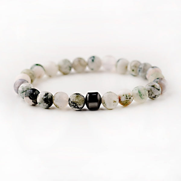 Men's Classic Natural-Stone Beaded Charm Bracelet