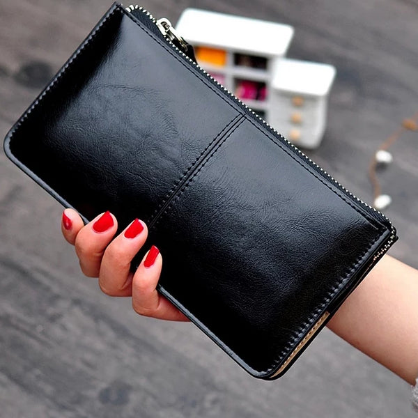 Women's Vintage Oil Wax Leather Clutch Wallet -2 Colours