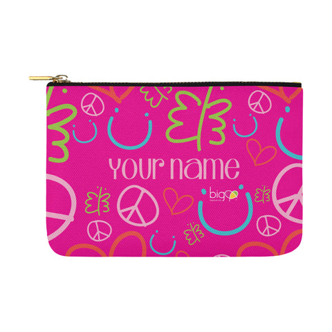 Personalized Large Carry-All Pouch 12.5''x8.5'' Pink Logo Pattern - biglove
