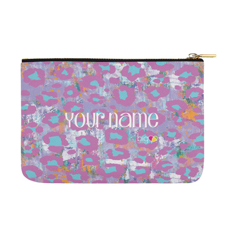 Personalized Large Carry-All Pouch 12.5''x8.5'' Pink Light Purple Animal Print - biglove