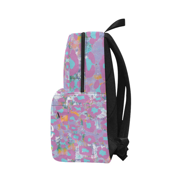 Personalized Classic Backpack Light Purple Animal Print - Biglove