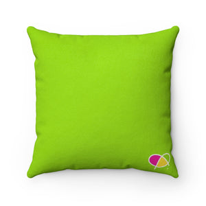 Happy Green Faux Suede Square Pillow - biglove