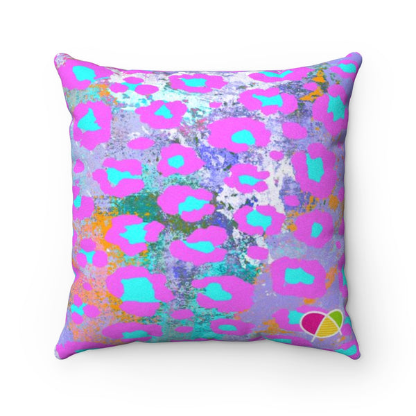 Sweet Animal Print Faux Suede Square Pillow Case - biglove