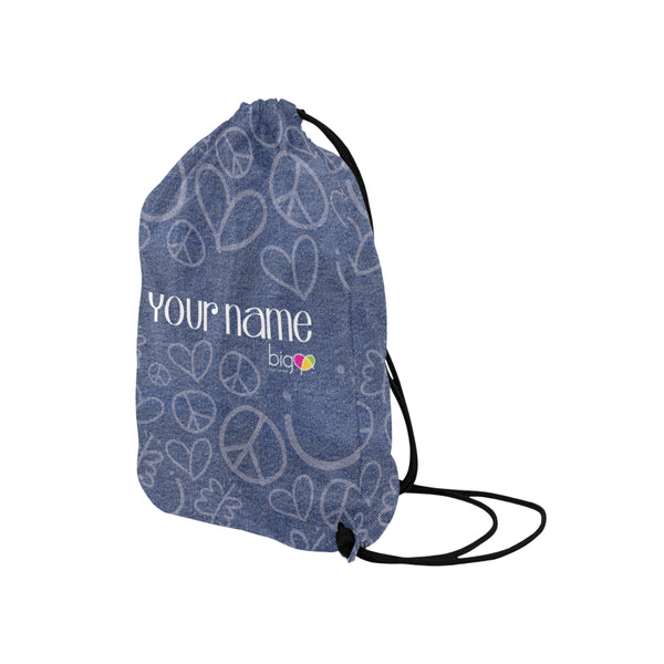 Personalized Drawstring Bag Denim
