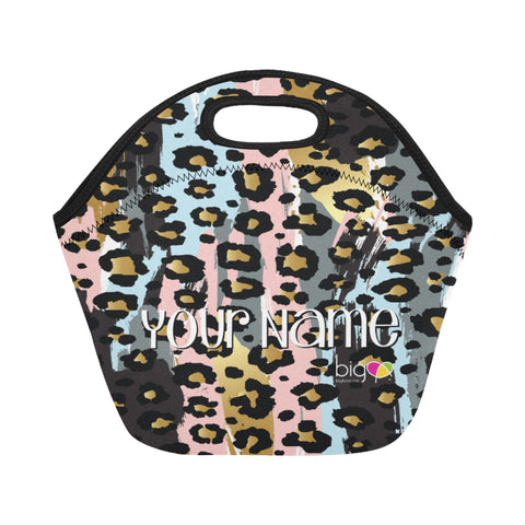 Personalized SMALL Neoprane Lunch Bag Pastel Animal Print - biglove