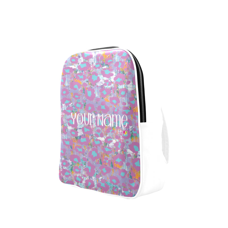 Personalized Leather Backpack Light Purple Animal Print - Biglove