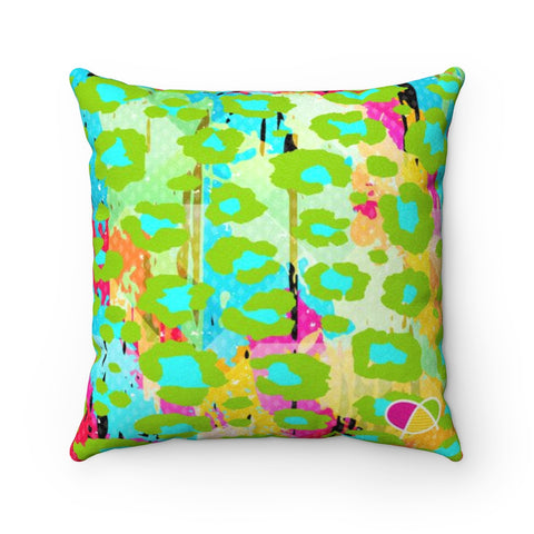 Happy Animal Print Faux Suede Square Pillow Case - Biglove