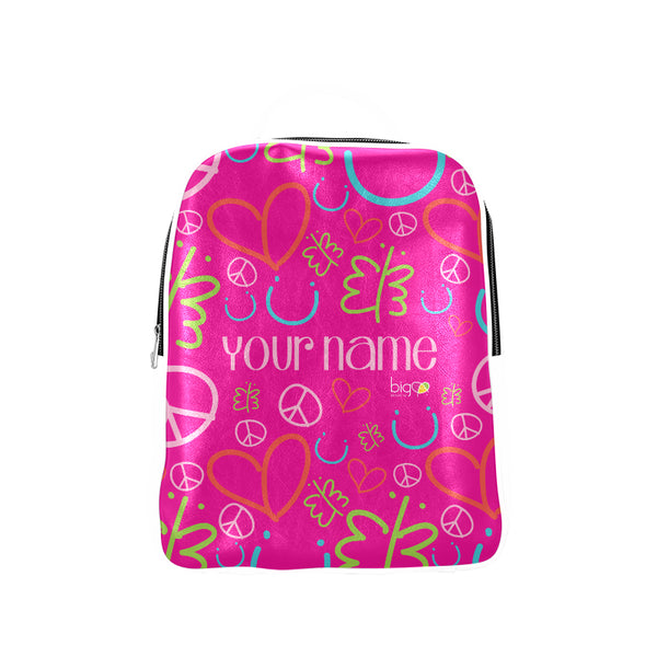 Personalized Leather Backpack Pink Logo Pattern - biglove