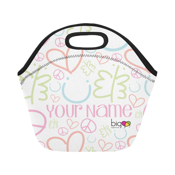 Personalized SMALL Neoprane Lunch Bag Pastel Logo Pattern - Biglove