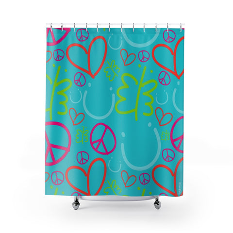 Biglove Pattern Blue Shower Curtains - biglove